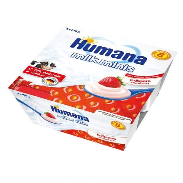 Humana Milk Minis jogurta deserts ar zemenēm