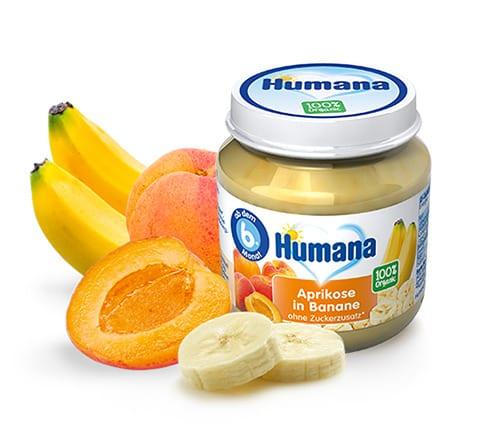 Humana BIO Aprikožu un Banānu biezenis