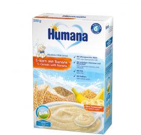 Humana 5 graudu banānu putra ar pienu, 200g