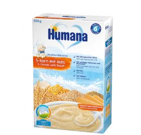 Humana 5 graudu cepumu putra ar pienu, 200g