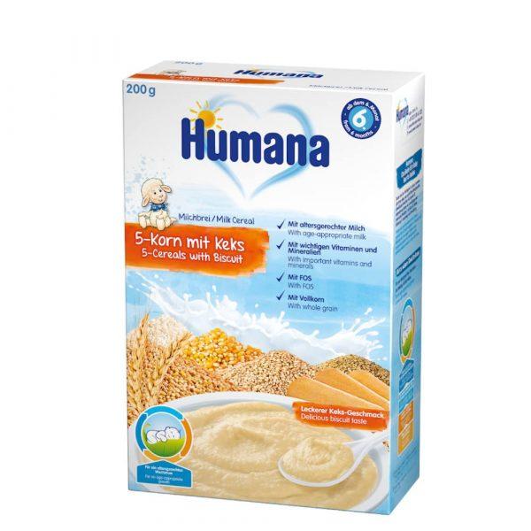 Humana 5 graudu piena putra ar cepumiem