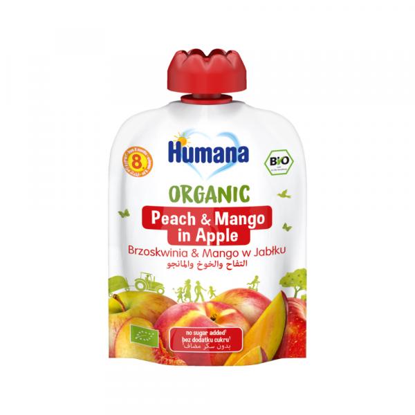 Humana BIO ābolu biezenis ar persikiem un mango