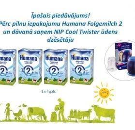 Humana Folgemilch 2 600g +  NIP Cool Twister ūdens dzēsētājs