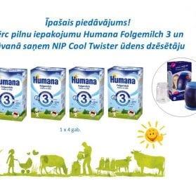 Humana Folgemilch 3 600g +  NIP Cool Twister ūdens dzēsētājs
