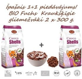 BIO Kraukšķīgie graudaugu gliemežvāki ar kakao 2 x 300g