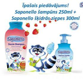 Saponello dušas želeja un šampūns 250ml + Saponello šķidrās ziepes 300ml