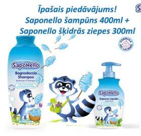 Saponello dušas želeja un šampūns 400ml + Saponello šķidrās ziepes 300ml