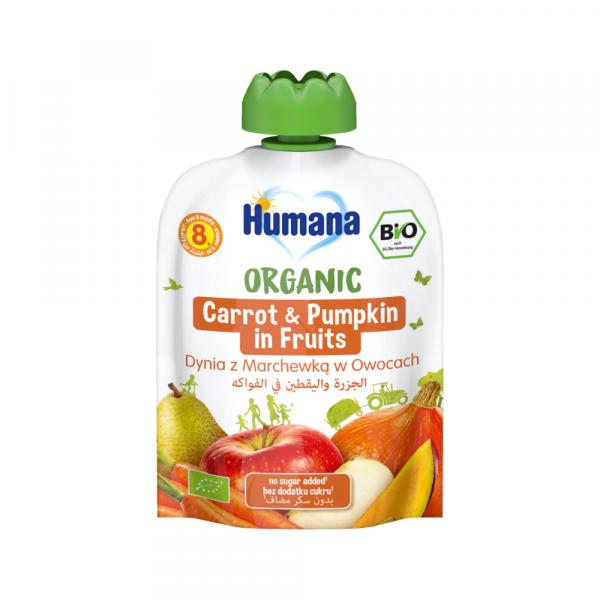 Humana BIO augļu biezenis ar burkāniem un ķirbi