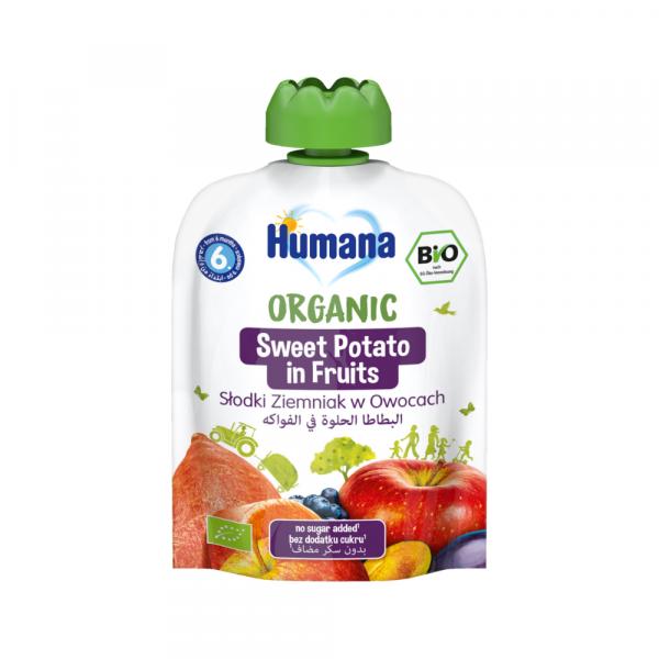 Humana BIO augļu biezenis ar saldo kartupeli